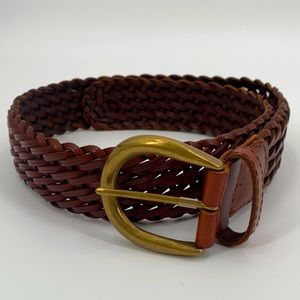 Lands End Braided Belt Brown Leather Sz 30
